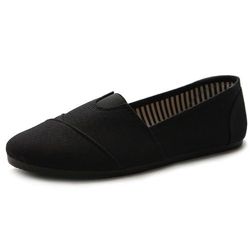 Ollio Women Shoe Slip on Sneakers Canvas Flats 1ML031 (6 B(M) US 6ec873b74baa
