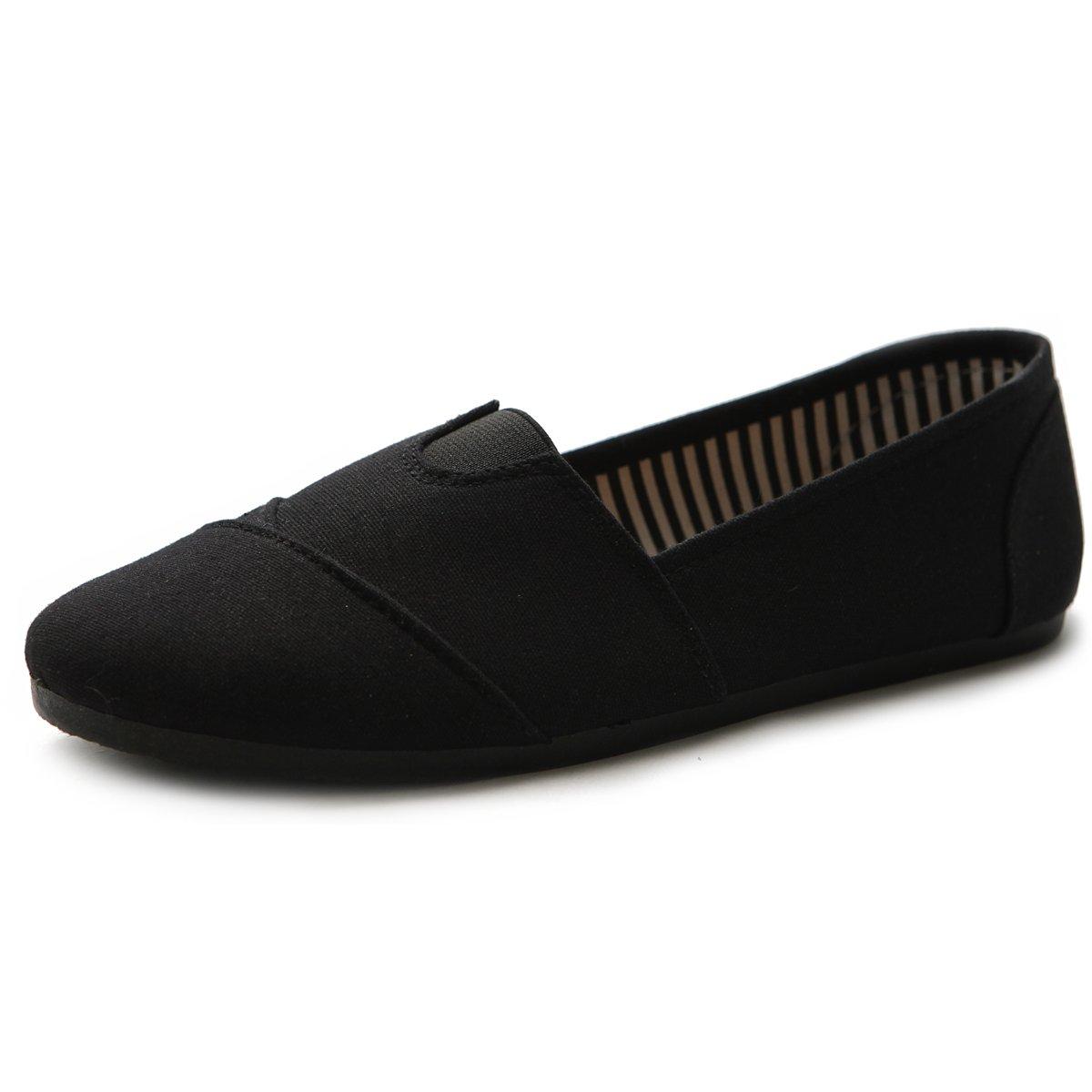 Ollio Womens Shoe Slip on Sneakers Canvas Flats L031(7.5 B(M) US, Black)