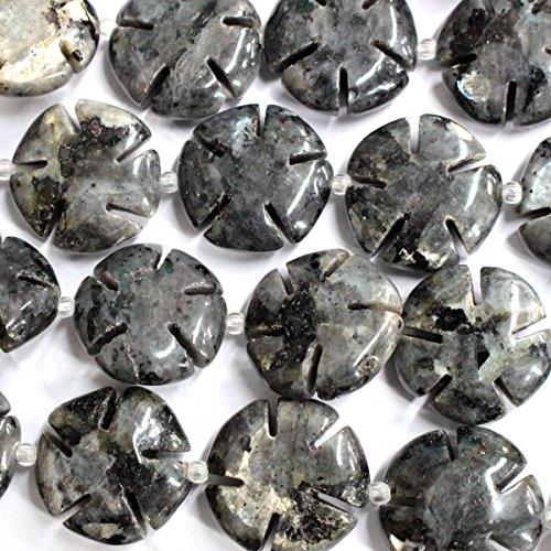 Agate Carved Bracelet Black (Natural Carved Flower 20mm Real Gemstones Loose Beads for Jewerly Bracelet Making (black labradorite))