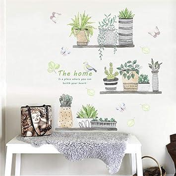 Pegatinas de pared Jardín planta bonsai mariposa pared calcomanía dormitorio cocina decoración del hogar Pvc pared calcomanía decoración Diy mural art: Amazon.es: Bricolaje y herramientas