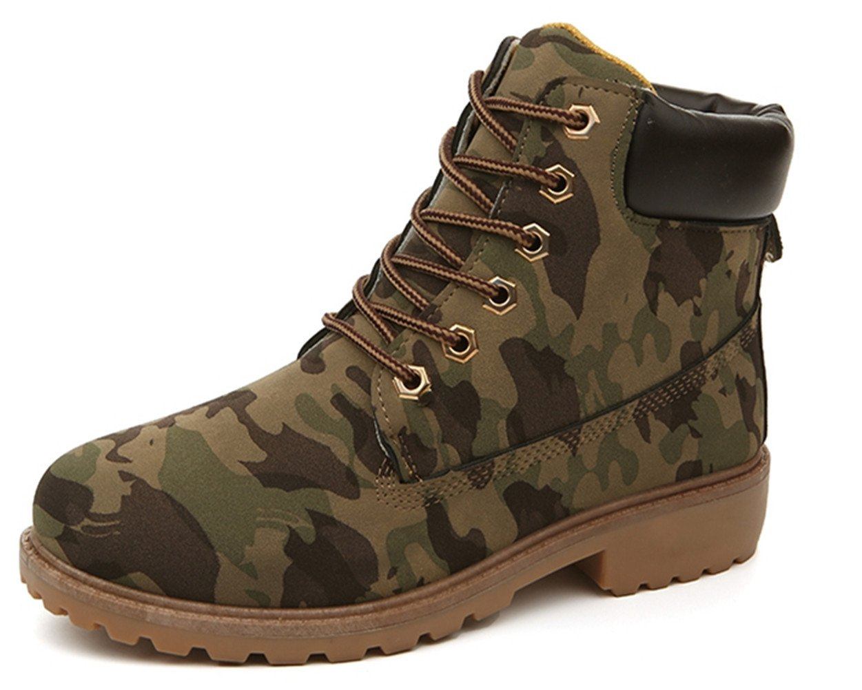DADAWEN Women's Lace Up Low Heel Work Combat Boots Waterproof Ankle Bootie Mixed US Size 8.5