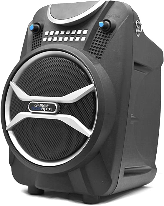 Wireless Portable PA Speaker System - 200 W Battery Powered Rechargeable Sound Speaker and Microphone Set with Bluetooth MP3 USB Micro SD FM Radio AUX - for Outdoor DJ Party - Pyle PWMAB210BK (Black)