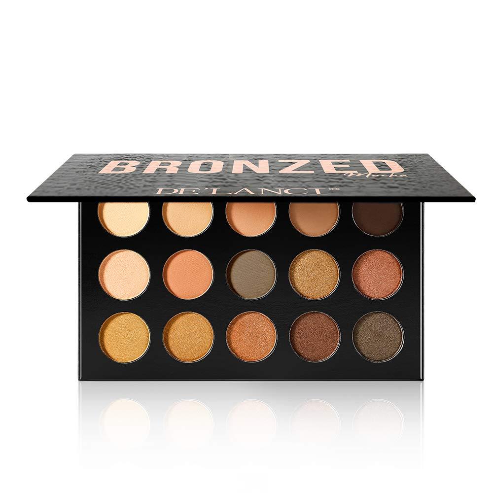 DE'LANCI 15 Colors Naked Eyeshadow Makeup Palette - Matte Shimmer Professional Nude Eyeshadow Pallete Warm Natural Bronze Neutral Cosmetic Eye Shadows (Mocha)