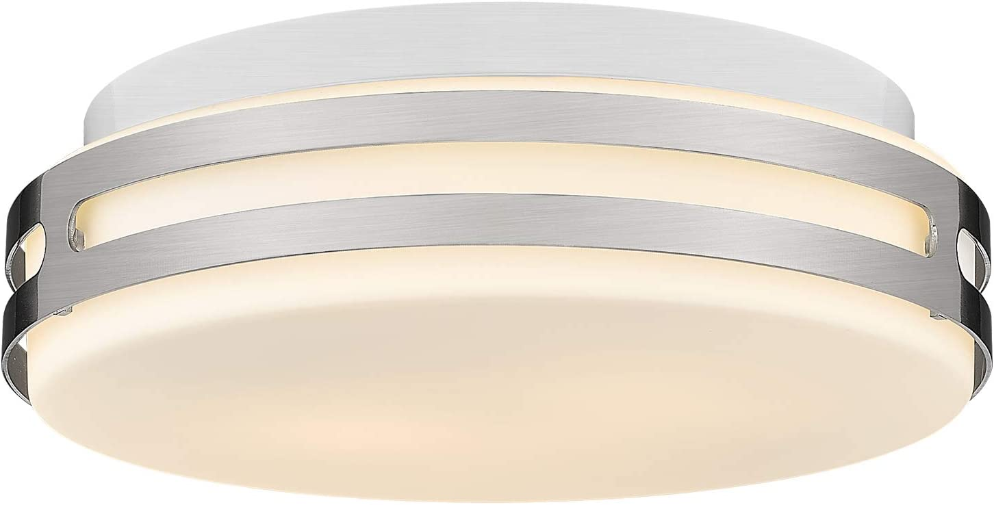 """Autelo Modern Close to Ceiling Light Fixture, 12"""" Glass Shade Flush Mount Light Fixture in Brushed Nickel Finish for Living Room Hallway Bedroom Foyer C3578 ST"""