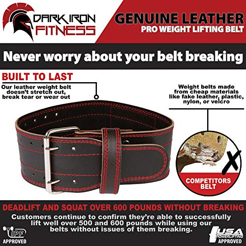 Small Lifting Leather Squatt Belt Weight Lifiting Belts for Back Fitness Belt Workot Belt Wheigt Belt Weight Lifting Belts Weighlifting Back Belt Fitness Belts Mens Weight Lifting Belt Lifting by Dark Iron Fitness (Image #2)