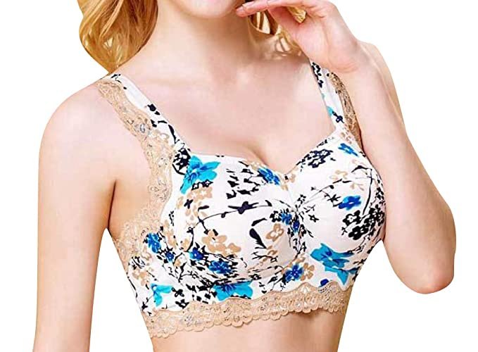 2c48129c51 Winwinus Womens Flower Printed Glamour Figure Bra with Removable Cups Blue S