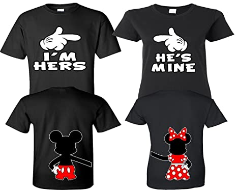 f4e56d64e5 Amazon.com: I'm Hers He's Mine Couple Shirts, Matching Couple Shirts,  Disney His and Her Shirts: Clothing