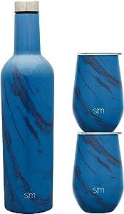Simple Modern Spirit Wine Bundle - 2 12oz Wine Tumbler Glasses with Lids & 1 Wine Bottle - Vacuum Insulated 18/8 Stainless Steel Pattern: Sapphire Wood Grain