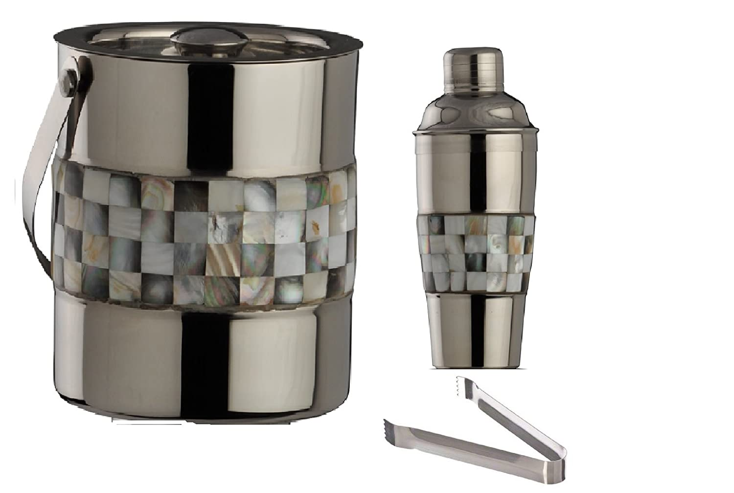 Stainless Steel Double Walled Ice Bucket Cocktail Shaker and Tong Mother of Pearl (MOP) Black and White finish 3 Piece Barware Set