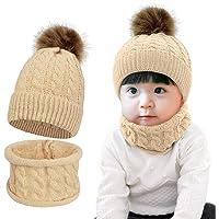 Tuopuda Sombrero para Niños Y Niñas Bufanda Conjunto Slouchy Invierno Grueso Bebe Beanie Gorros con Pompon Y Bufanda de…