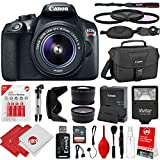 Canon EOS Rebel T6 18MP DSLR Camera w/ 18-55mm STM + .43x + 2.2x Lenses + Flash + AA Batteries + 32GB + Reader + Cleaning Kit + Case