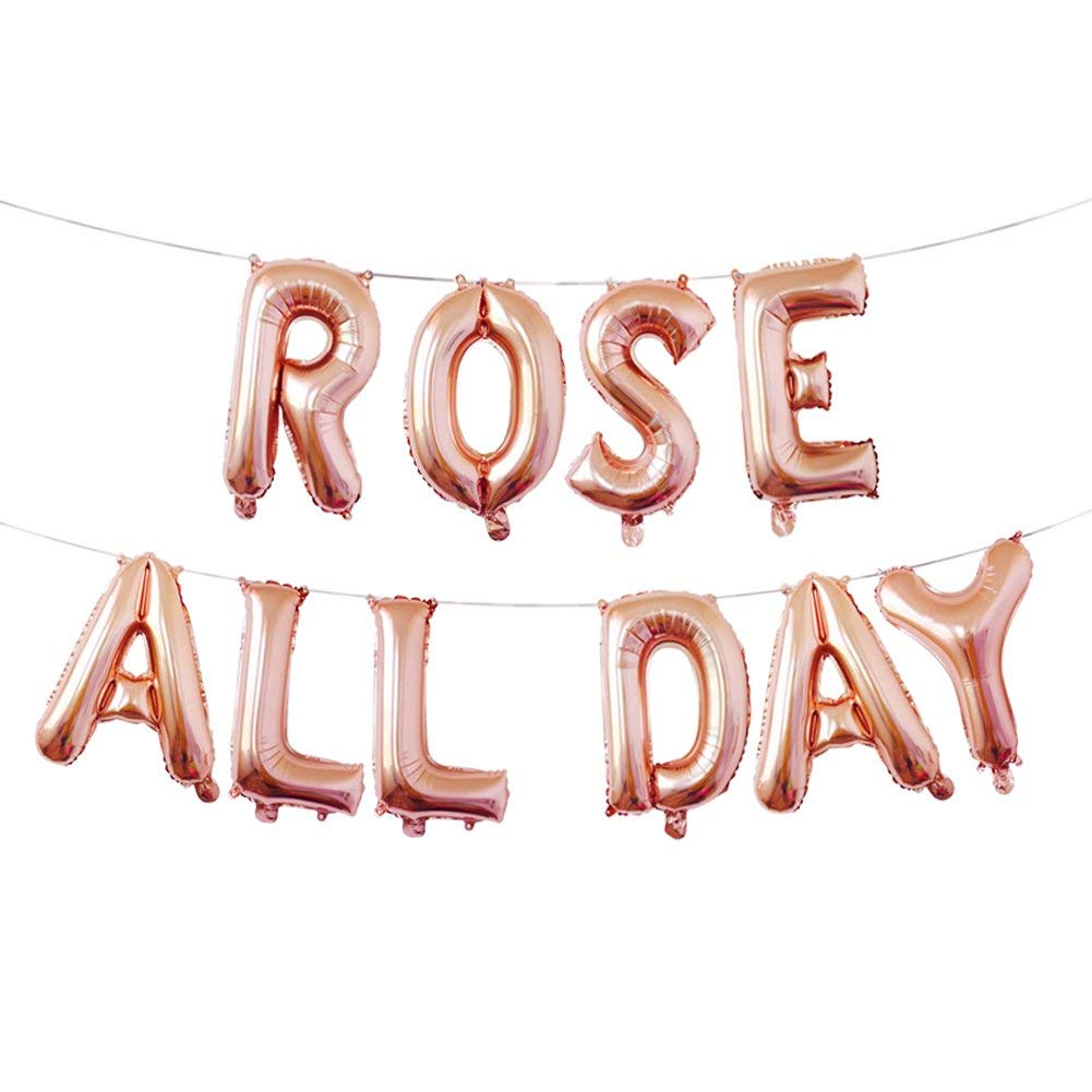 a169c175d99a Amazon.com  Rose All Day Balloons Banner Rose All Day Decorations Brosé  Party Balloon for Bridal Shower Birthday Party Bachelorette Party  Health    Personal ...