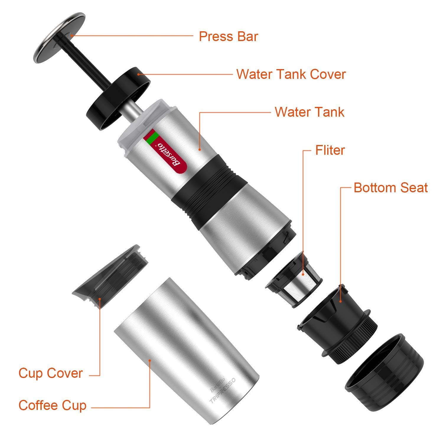 Portable Coffee Maker Barsetto Americano Coffee Machine for K-cup and Ground coffee Stainless Steel Coffeemaker with Double Wall Insulate Mug for Travel Picnic Hiking and Camping by Barsetto (Image #4)