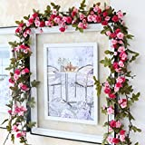 Dwayne C Artificial Rose Flowers Garlands Vintage Style 7.5ft Fake Rose Vines Hanging Flowers for Outdoor Indoor Wedding Wall Bedroom Valentine's Day Decoration (Style 1)