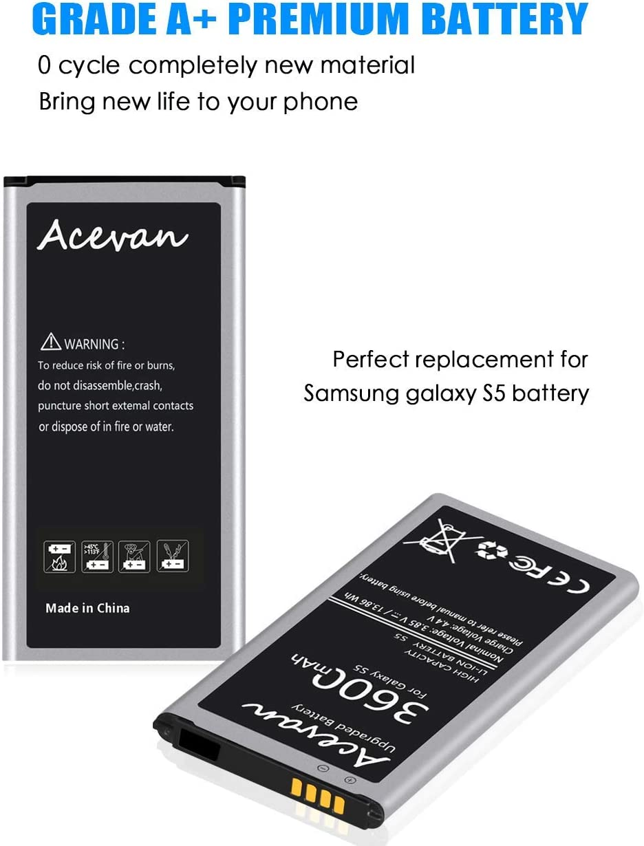Acevan Galaxy S5 Battery Upgrade 3600mAh Replacement Battery for ...