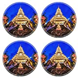 MSD Round Coasters Non-Slip Natural Rubber Desk Coasters design: 30615371 Twin Dragon with Kuan Yin statue in the center Wat Huay pla kang in Chiang Rai Province Thailand