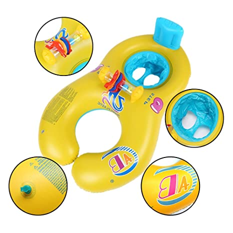 Amazon.com: Povkeever Dual Person Mother and Baby Safety Kids Swim Float Rings, Inflatable Baby Pool Float Boat for Family Activities: Computers & ...