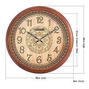 Reloj Salón de estilo chino Reloj de pared silencioso Esfera de madera Estuche de madera maciza Espejo de cristal Movimiento de barrido 1 sección 5 Batería de carbono (no incluida) 20 pulgadas 2
