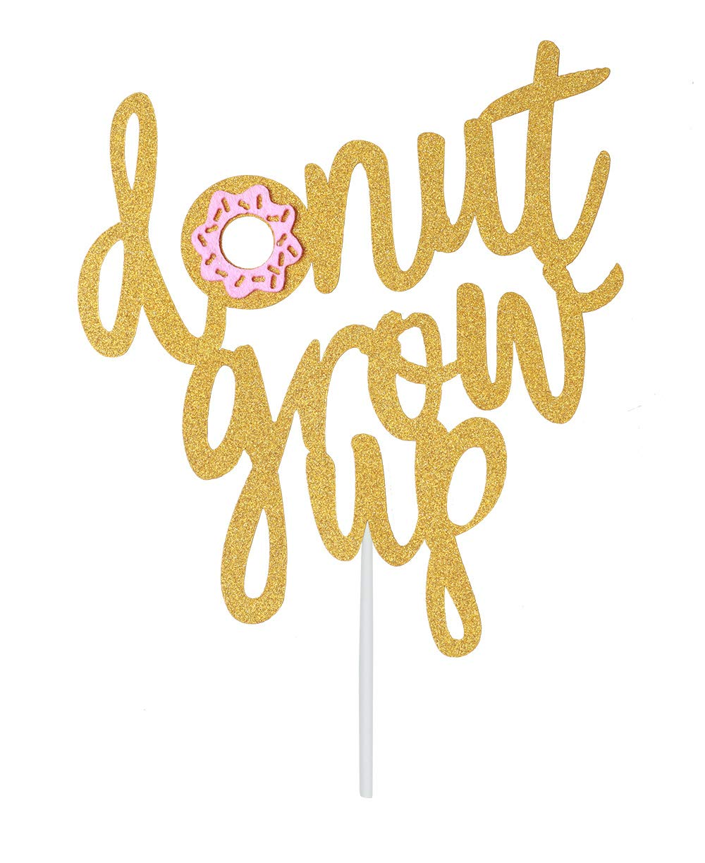 Topfun Double Sided Gold Glitter Donut Grow Up Cake Topper for Baby Shower Kids First Birthday Party Decorations