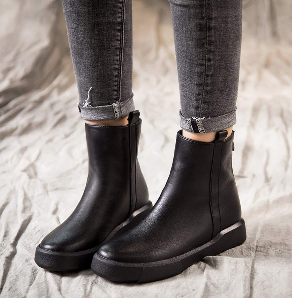 SHANGWU Women Ladies Winter Flat Calf Boots//Casual Ankle Boots Fur Lined Grip Sole Army Retro Combat Boots Shoes Size Warm Martin Shoes