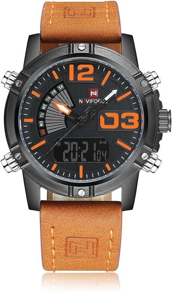 Reloj para hombre, de Naviforce, de estilo deportivo militar, analógico, digital, con correa de piel, doble zona horaria, alarma, temporizador, luz LCD de color naranja