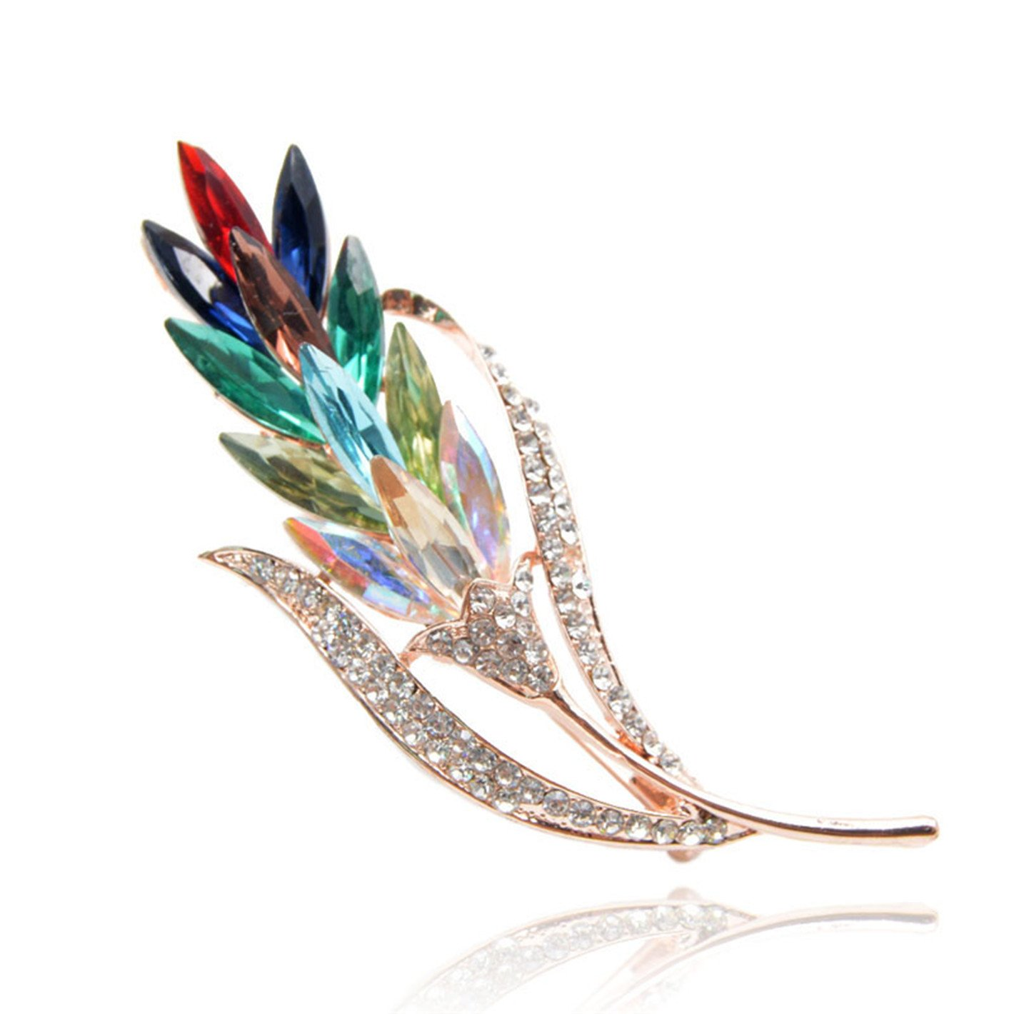 Multi-Color Crystal Wheat Brooches for Women Rhinestone Brooch Pin Fashion Jewelry Coat Dress Corsage Flo