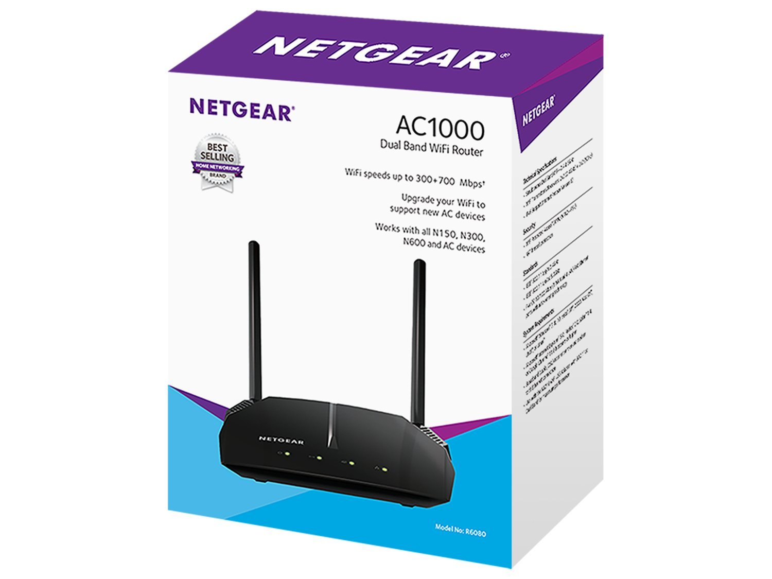 NETGEAR AC1000 Dual Band Smart WiFi Router 5 Faster WiFi - Now up to 1000 Mbps (300 + 700) Upgrade your WiFi to support new AC devices. Memory:8 MB flash and 64 MB RAM Cat-6 Ethernet patch cable for wired home and office networks