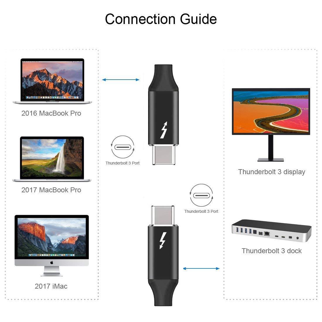 Nylon Braided Thunderbolt 3 Cable USB C Devices Adapter 6.6ft 20V//5A Thunderbolt 3 to Thunderbolt 3 Cord for Thunderbolt 3 Hub 2m 100W 20Gbps