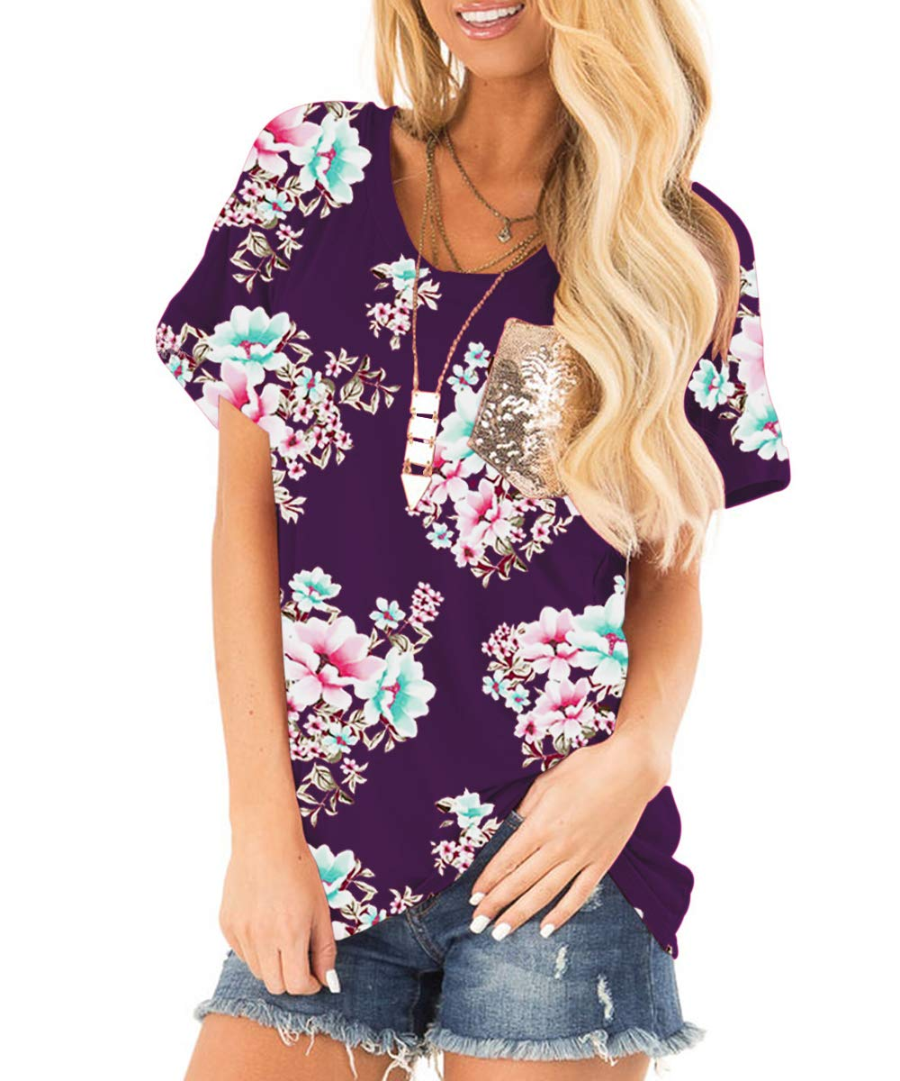 deesdail Rayon Tops for Women, Ladies Round Neck Short Sleeve Casual Shirts Floral Print Loose Hem Summer Tunic Knit Shirts with Pocket Purple XL