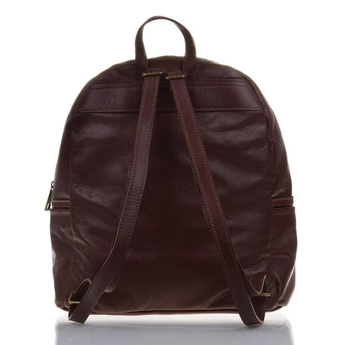 Amazon.com | Firenze Artegiani Mochila De Mujer Casual Piel Auténtica, Acabado Savage Messenger Bag, 34 cm, Brown (Marrón chocolate) | Luggage & Travel Gear
