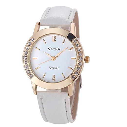 Cebbay Liquidación regalo reloj Geneva Leisure Fashion Noble hombres mujeres diamante analógico cuero cuarzo relojes de