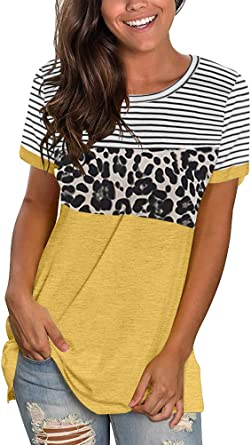 Thepass Fashion Womens Ladies Short Sleeve Print Leopard Striped Knot Casual Blouse Top Brown