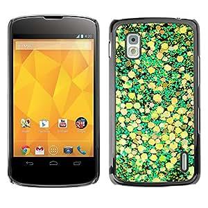 Caucho caso de Shell duro de la cubierta de accesorios de protección BY RAYDREAMMM - LG Google Nexus 4 E960 - Yellow Leaves Nature Pattern