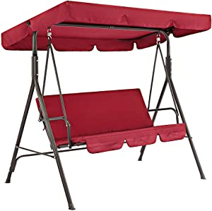 Hongwen Patio Swing Seat Cover 2pcs/Set Solid Oxford Cloth Replacement Parts Canopy Universal Garden Chairs Dustproof Waterproof Proof for 3 Seater Outdoor Decor Protector Shade(190x132x15cmRed)
