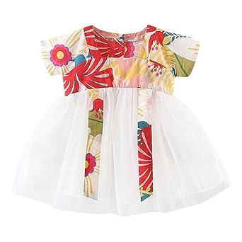 YWLINK Vestido NiñA, Vestido De Manga Corta con Estampado Floral Y ...