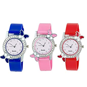 b52ea66d5 Buy VK SALES Quartz Movement Analogue Multicolour Dial Women's Watch (Combo  of 3) Online at Low Prices in India - Amazon.in