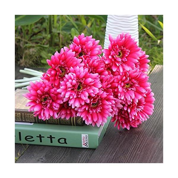 10Pcs-Sunbeam-Artificial-Flower-Mum-Gerber-Daisy-Bridal-Bouquet-Silk-Wedding-Party-FlowersRose-Red