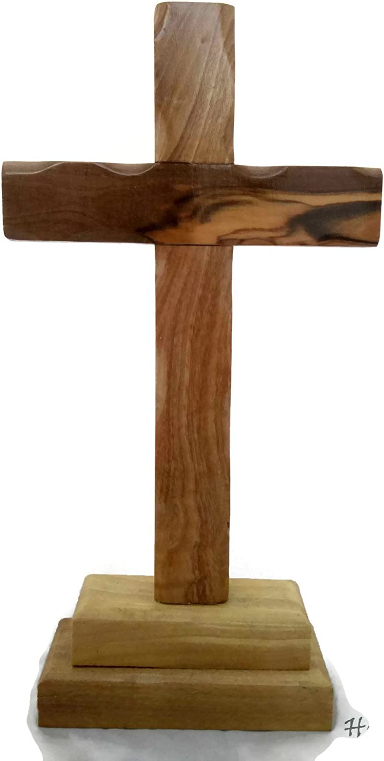 """HolyRoses Olive Wood Standing Christian Cross Table Altar (4.75"""")"""