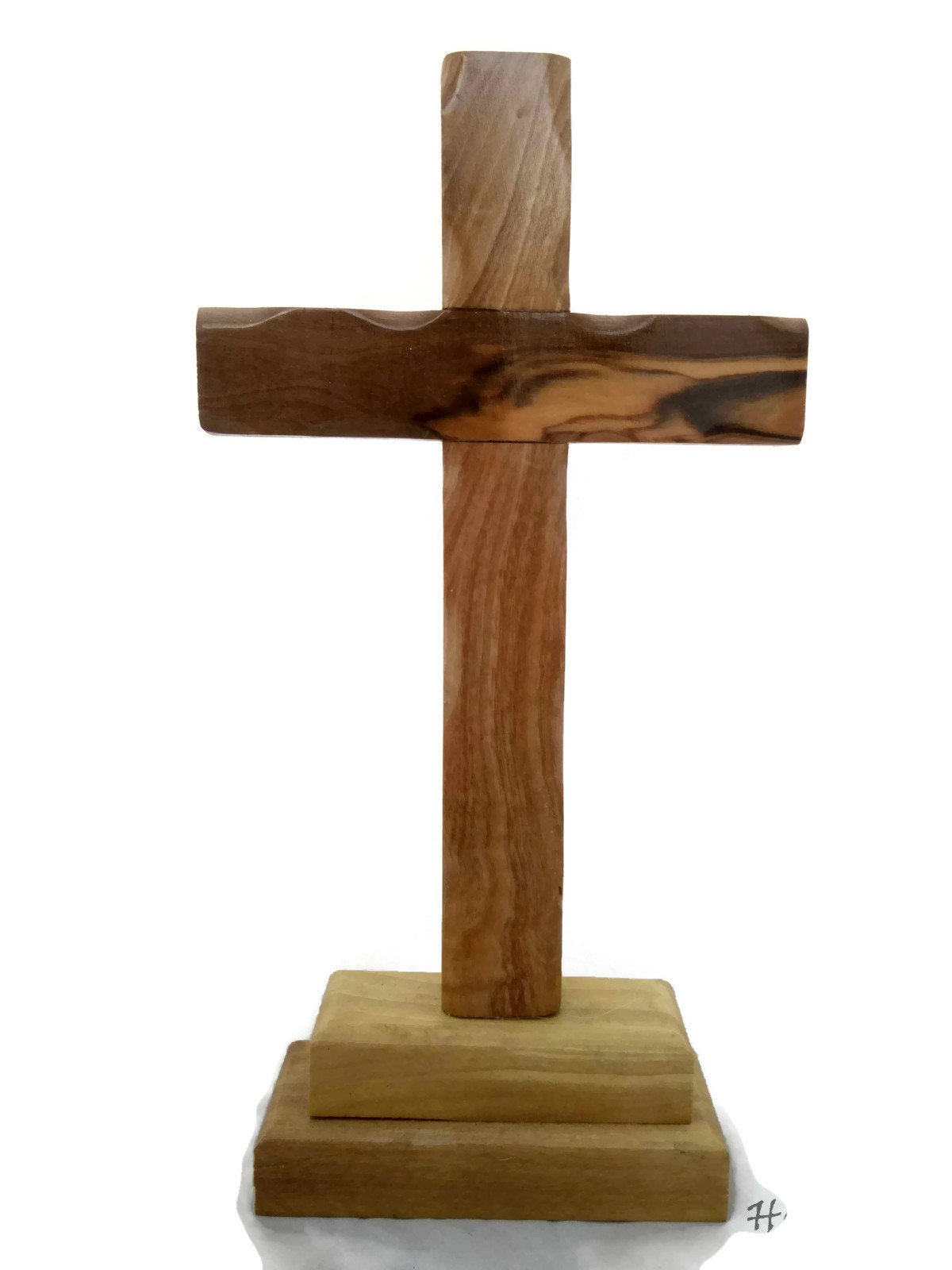 HolyRoses Olive Wood Standing Christian Cross Table Altar (14'')