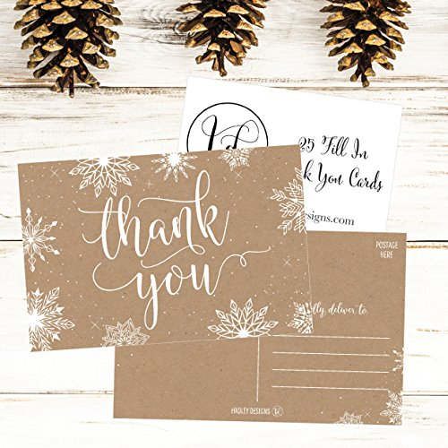 25 4x6 Blank Christmas Holiday Thank You Postcards Bulk, Cute Kraft Winter Snowflake Note Card Stationery For Wedding, Bridesmaids, Bridal or Baby Shower, Teachers, Religious, Business Cards Photo #6
