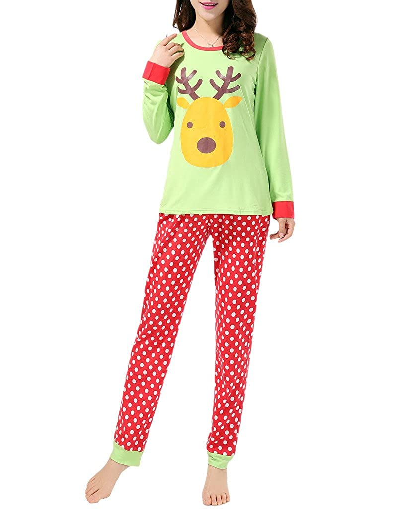 VENTELAN Women Pajamas Cute Sleepwear With Panda Pattern Long-Sleeved Loungewear