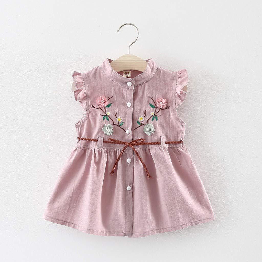 Cramberdy Baby M/ädchen /Ärmellos Rundhals Mode Kinder Tutu-Prinzessinkleid Blume Niedlich Kinder M/ädchen Kleid Sommer Casual Bequem Strandkleid