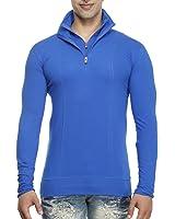 Tees Collection Men's Stylish Half Zip Double Flap Collar Full Sleeve T-Shirt