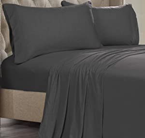 Posh Home Jersey Knit Ultra Soft Lightweight Cotton T-Shirt Comfortable Breathable Cooling Cozy Unisex All-Season Bed Sheet Set Easy Care (Twin XL, Grey)