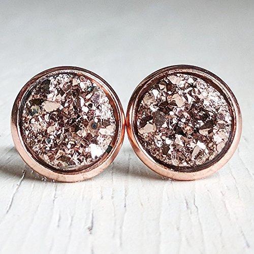 8e2f6ba78 Amazon.com: Rose Gold on Rose Gold - Druzy Stud Earrings ...