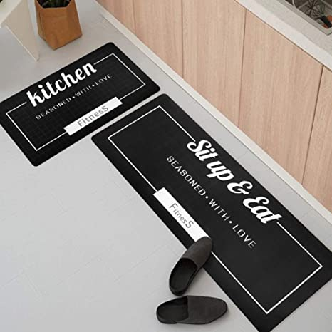 USTIDE 2 Piece Waterproof Kitchen Rugs Set Cushioned Chef Non-Slip Rubber  Back Floor Mats Washable Oil Proof Doormat Bathroom Runner Area Rug Carpet