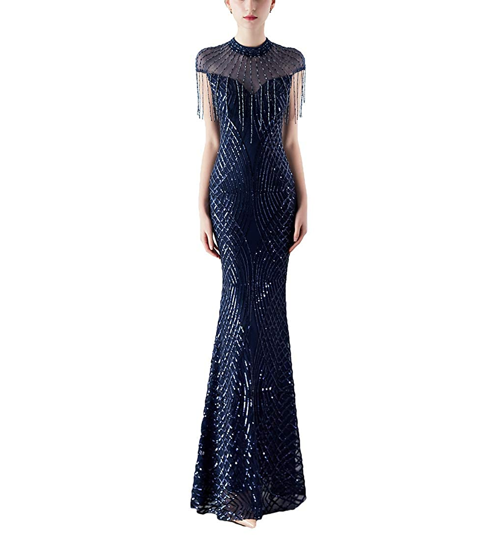Navy bluee Chowsir Women Elegant Sequin Tassels Slim Cocktail Party Evening Long Prom Dress