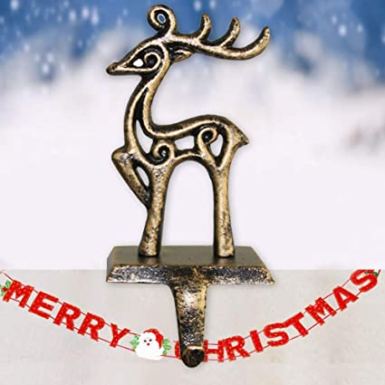Groovy Wrightus Christmas Decorations Christmas Stocking Holder Metal Christmas Stocking Hangers For Mantle Fireplace Free Standing Deer Snowman Sata Home Interior And Landscaping Pimpapssignezvosmurscom