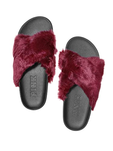 2e19bff1f6d1f VS Pink Victoria's Secret Faux-Fur Crisscross Slide