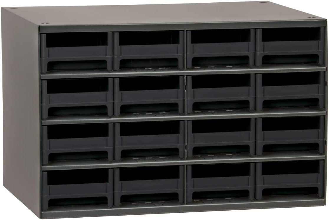Akro-Mils 19416 17-Inch W by 11-Inch H by 11-Inch D 16 Drawer Steel Parts Storage Hardware and Craft Cabinet Black Drawers